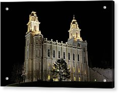Manti Temple Night Acrylic Print