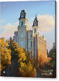 Manti Temple Tall Acrylic Print by Rob Corsetti