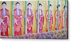 Many Budhas Acrylic Print by Hiske Tas Bain