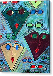Many Faces Blue Acrylic Print by Margie  Byrne