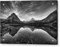 Many Glacier Zen In Black And White Acrylic Print