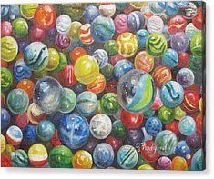 Acrylic Print featuring the painting Many Marbles by Oz Freedgood