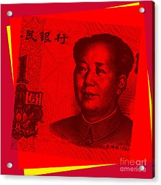 Acrylic Print featuring the digital art Mao Zedong Pop Art - One Yuan Banknote by Jean luc Comperat