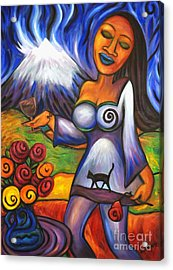 Acrylic Print featuring the painting Maori Girl Roses And Cat by Dianne  Connolly