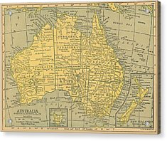 Acrylic Print featuring the drawing Map Australia by Digital Art Cafe