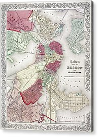 Map: Boston, 1865 Acrylic Print by Granger