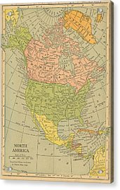 Acrylic Print featuring the drawing Map North America 1909 by Digital Art Cafe