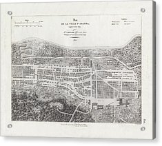 Acrylic Print featuring the drawing Map Of Agana Village Guam by A Berard