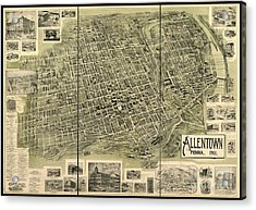 Map Of Allentown Pennsylvania  Acrylic Print by Pd