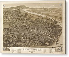 Map Of Chattanooga, County Seat Of Hamilton County, Tennessee 1886 Acrylic Print