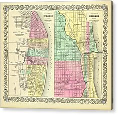 Map Of Chicago And St Louis 1856 Acrylic Print by Mountain Dreams