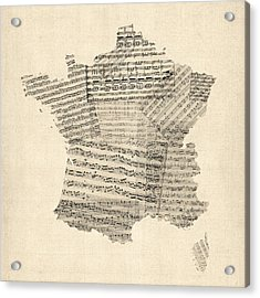Map Of France Old Sheet Music Map Acrylic Print by Michael Tompsett
