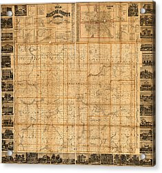 Map Of Jackson County Michigan 1858 Acrylic Print