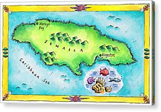 Map Of Jamaica Acrylic Print by Jennifer Thermes