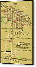 map of Keeneyville Acrylic Print by Dean Glorso