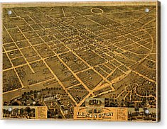 Map Of Lexington Kentucky Vintage Birds Eye View Aerial Schematic On Old Distressed Canvas Acrylic Print by Design Turnpike