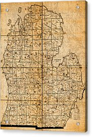 Map Of Michigan Vintage Railroad Train Routes Hand Drawn On Worn Distressed Old Canvas Acrylic Print