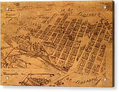 Map Of Minneapolis Minnesota Vintage Birds Eye View Aerial Schematic On Old Distressed Canvas Acrylic Print