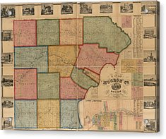 Map Of Monroe County Michigan 1859 Acrylic Print