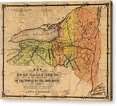 Map Of New York State Showing Original Indian Tribe Iroquois Landmarks And Territories Circa 1720 Acrylic Print by Design Turnpike