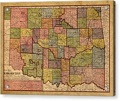 Map Of Oklahoma Vintage Antique Of Worn Canvas 1905 Acrylic Print by Design Turnpike