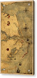 Map Of Outer Banks Vintage Coastal Handrawn Schematic On Parchment Circa 1585 Acrylic Print
