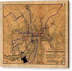 Map Of Richmond Virginia Vintage Street Car Railway Schematic From 1901 On Worn Distressed Canvas Acrylic Print
