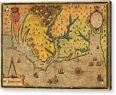Map Of Roanoke Virginia Lost Colony 1585 Vintage Schematic Of Ocean Coast On Worn Parchment Acrylic Print by Design Turnpike