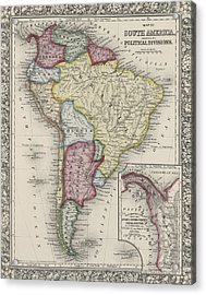 Map Of South America Acrylic Print by Samuel Augustus Mitchell