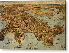 Map Of Sydney Australia Vintage Birds Eye View Schematic Circa 1888 On Worn Parchment Acrylic Print by Design Turnpike