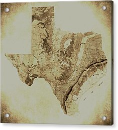 Map Of Texas In Vintage Acrylic Print