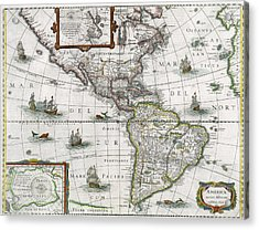 Map Of The Americas Acrylic Print by Henricus Hondius