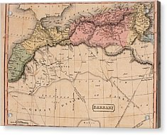 Map Of The Barbary States Of North Acrylic Print by Everett