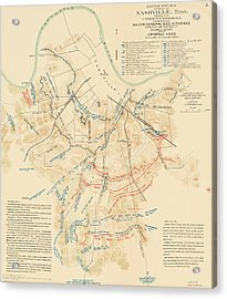Map Of The Battle Of Nashville - American Civil War Acrylic Print by Mountain Dreams