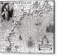 Map Of The Coast Of New England Acrylic Print