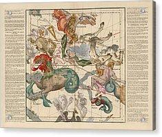 Map Of The Constellations Cetus, Pegasus, Aquarius, Andromeda - Celestial Map - Antique Map Acrylic Print