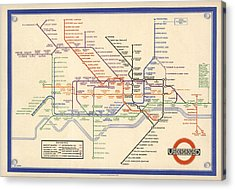 Map Of The London Underground - London Metro - 1933 - Historical Map Acrylic Print