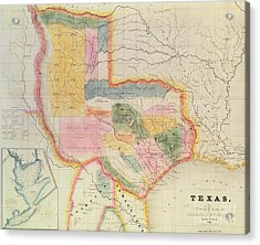 Map Of The State Of Texas, 1835  Acrylic Print by David Burr