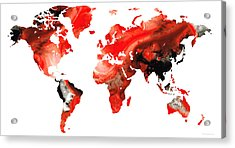 Map Of The World 10 -colorful Abstract Art Acrylic Print by Sharon Cummings