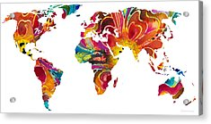 Map Of The World 2 -colorful Abstract Art Acrylic Print by Sharon Cummings