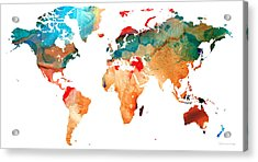 Map Of The World 7 -colorful Abstract Art Acrylic Print by Sharon Cummings