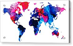 Map Of The World 9 -colorful Abstract Art Acrylic Print by Sharon Cummings