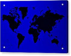 Acrylic Print featuring the photograph Map Of The World Blue by Rob Hans
