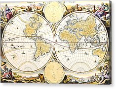 Map Of The World Acrylic Print by Daniel Stoopendaal