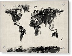 Map Of The World Map Abstract Acrylic Print by Michael Tompsett
