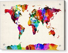 Map Of The World Map Abstract Painting Acrylic Print
