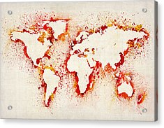 Map Of The World Paint Splashes Acrylic Print by Michael Tompsett