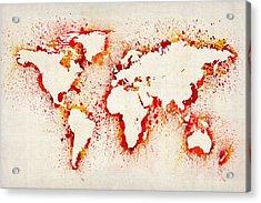 Map Of The World Paint Splashes Acrylic Print by Michael Tompsett