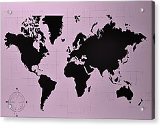 Acrylic Print featuring the photograph Map Of The World Pink by Rob Hans