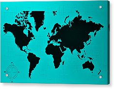 Acrylic Print featuring the photograph Map Of The World Turquoise by Rob Hans